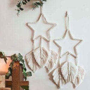 ⬇️ 2pc Macrame Star Leaf Tassel Boho Wall Hanging